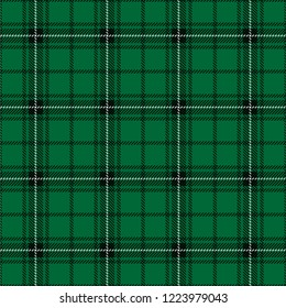 Tartan plaid seamless pattern black and white line alternating rectangles of fabric green background, Scottish cage.