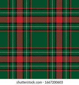 Tartan plaid seamless pattern black white red line fabric texture green background, Scottish cage , New year Christmas Decoration, Vector illustration