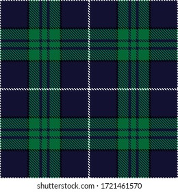 Tartan plaid seamless pattern blue background. Flannel shirts , Vector illustration for wallpapers , Black green white line color fabric texture , Scottish cage .