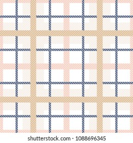 Tartan plaid seamless pattern. Pastel colors tartan vector background.