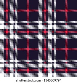 Tartan plaid seamless pattern red and white line alternating rectangles of fabric navy blue background, Scottish cage.