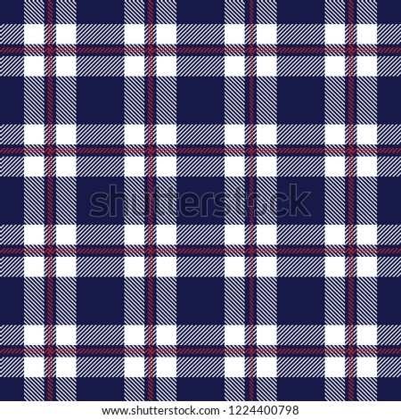 Tartan plaid seamless pattern red and white line alternating rectangles of  fabric blue background 19cd3b895