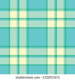 Tartan plaid seamless pattern robin egg blue color background. Flannel shirts , Vector illustration for wallpapers , Cream green  line color fabric