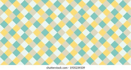 Tartan rhombus tiles seamless pattern vector graphic design. Square shapes retro wallpaper. Rhombus geometric seamless pattern, plaid textile print. Cute squares endless backdrop.