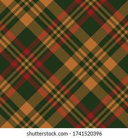 Tartan Scotland plaid pattern. Seamless woven check plaid graphic in dark green, red, and orange for scarf, blanket, throw, duvet cover, or other modern autumn winter fabric design.