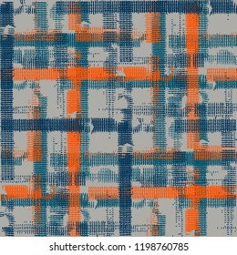 Tartan. Seamless Background with Stripes. Abstract Texture with Horizontal and Vertical Strokes. Scribbled Grunge Motif for Wallpaper, Print, Cotton. Scottish Ornament. Vector Texture.