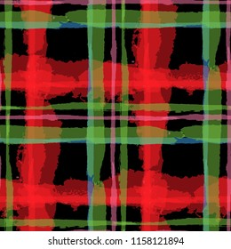 Tartan. Seamless Grunge Background with Hand Painted Crossing Lines for Wrapping Paper, Linen, Sportswear. Rustic Check Texture. Vector Seamless Plaid. Scottish Ornament