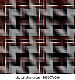 Tartan Seamless Pattern Background in Black,  Gray, Red  and  White Color  Plaid.  Flannel Shirt Patterns. Trendy Tiles Vector Illustration for Wallpapers.