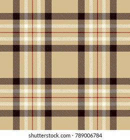 Tartan Seamless Pattern Background. Camel Beige, Black, Red  and  White  Color  Plaid.  Flannel Shirt Patterns. Trendy Tiles Vector Illustration for Wallpapers.