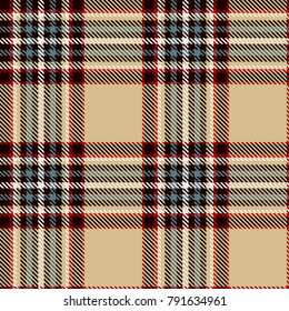 Tartan Seamless Pattern Background. Camel Beige, Red, Black, Blue and  White  Color  Plaid.  Flannel Shirt Patterns. Trendy Tiles Vector Illustration for Wallpapers.