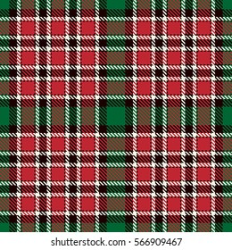 Tartan Seamless Pattern Background. Red, Black, Green  and  White Plaid, Tartan Flannel Shirt Patterns. Trendy Tiles Vector Illustration for Wallpapers.
