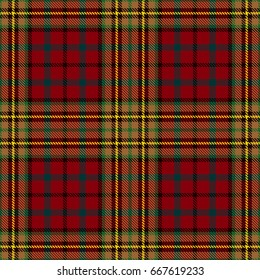 Tartan Seamless Pattern Background. Red, Black, Green, Gold  and  White  Plaid, Tartan Flannel Shirt Patterns. Trendy Tiles Vector Illustration for Wallpapers.