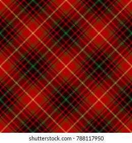 Tartan Seamless Pattern Background. Red, Green, Gold  and  Black  Color  Plaid.  Flannel Shirt Patterns. Trendy Tiles Vector Illustration for Wallpapers