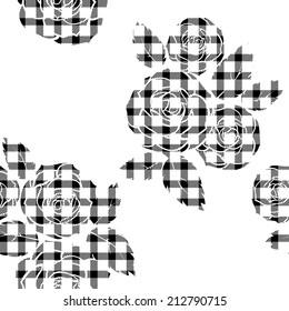 Tartan seamless pattern with roses