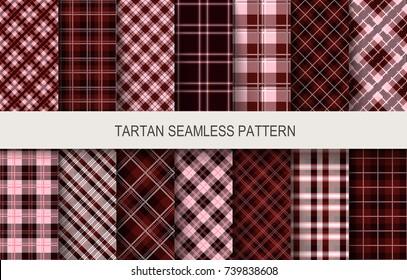 Tartan seamless vector patterns in dark colors. Vector illustration
