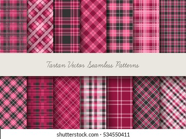 Tartan seamless vector patterns in pink-lilac colors