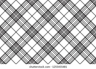 Tartan сheck texture in black and white. print plaid fabric background. Seamless pattern vector.