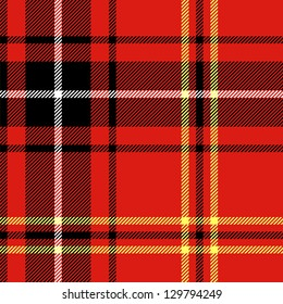 Tartan traditional checkered british fabric seamless pattern, black and red, vector