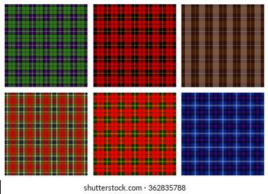 Tartan vector set. Plaid patterns
