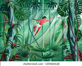 Tarzan jumps from branch to branch in the thickets of the rainforest. Handmade drawing vector illustration.