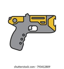 Taser color icon. Incapacitating gun. Electroshock weapon. Isolated vector illustration
