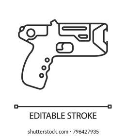 Taser linear icon. Incapacitating gun. Thin line illustration. Electroshock weapon. Thin line illustration. Contour symbol. Vector isolated outline drawing. Editable stroke
