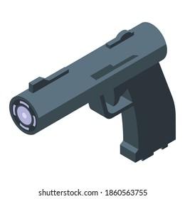 Taser pistol icon. Isometric of taser pistol vector icon for web design isolated on white background