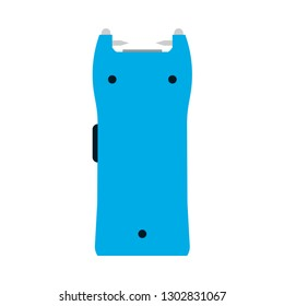 Taser security police law vector icon gun. Hand electroshock cartoon weapon stun shock electricity silhouette