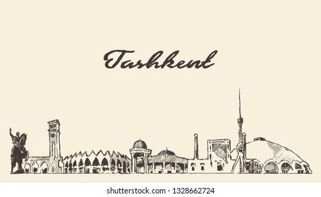 Tashkent skyline, Uzbekistan, hand drawn vector illustration, sketch