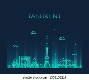 Tashkent skyline, Uzbekistan. Trendy vector illustration, linear style