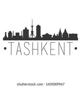 Tashkent Uzbekistan. City Skyline. Silhouette City. Design Vector. Famous Monuments.