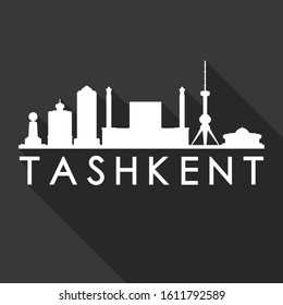 Tashkent Uzbekistan Flat Icon Skyline. Silhouette Design City Vector Art. Famous Buildings Vector.
