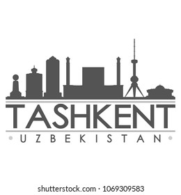 Tashkent Uzbekistan Skyline Silhouette Design City Vector Art Famous Buildings