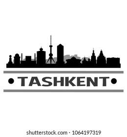 Tashkent Uzbekistan Skyline Silhouette Stamp City Design Vector Art Template