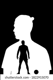 Tasikmalaya,Indonesia- September 28 2020 : Vector illustration of Cristiano ronaldo in silhouette style ,poster minimalist,