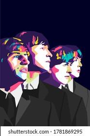 Tasikmalaya,Indonesia-Sunday July 2020 : Popart style of The Beatles