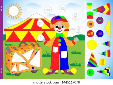 Task for children to practice fine motor skills. Cut the missing elements of the juggler clown, circus and suitcase, paste on the picture and glue. Worksheet for printing. Vector illustration