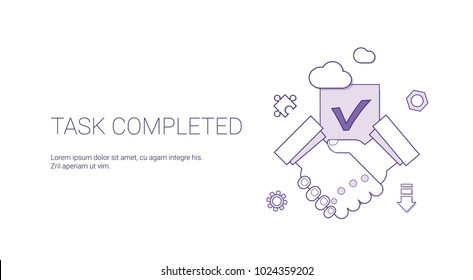 Task Completed Web Banner With Copy Space Business Agreement Success Concept Vector Illustration