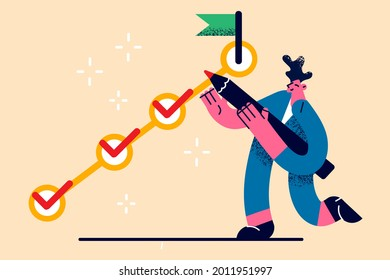 Task completion, task solving, management concept. Positive young businessman cartoon character standing holding big pencil to check completed tasks and manage duties himself