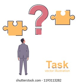 Task concept. Businessman faces a difficult task. Connect the two puzzles. Vector illustration flat line design. Isolated on white background. Problem solving. Overcoming obstacles.