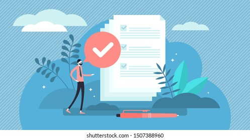 Task done vector illustration. Flat tiny check to do list persons concept. Symbolic positive and approved checklist or completed project validation form. Good and confirmed exam or survey results.