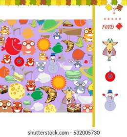 Task - Finding the Same Picture Educational Game for Preschool Children, New Year theme