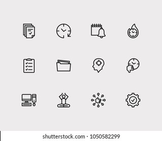 Task icons set. To-do list and task icons with capability, group tasks and productive hours. Set of elements including tech for web app logo UI design.