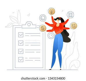 Task management - flat design style colorful illustration on white background with linear elements. A composition with a businesswoman having a lot to do, a clipboard with check list. Planning concept