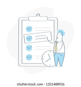 Task management, task prioritization. Project Manager standing near check list and planning iterations. Scrum task board full of tasks on sticky note cards. Flat outline vector concept on white