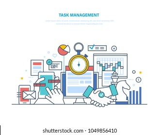 Task management, productivity, planning, coordination. Business analysis, marketing strategy. Monitoring system crm, accounting time, mobile app. Growth result activity. Illustration thin line design.