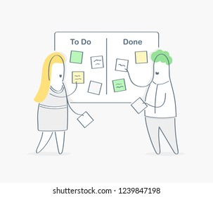 Task performance, task pool online management on the service desk. Managers discussing tasks and issues, process flow, moving cards on kanban board, agile project management, scrum task board concept.