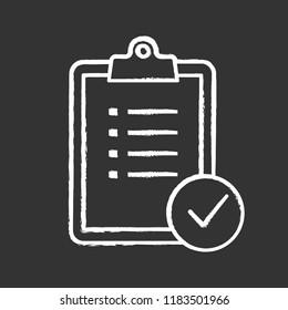 Task planning chalk icon. To do list. Project management. Tasks list. Checklist. Test, exam. Isolated vector chalkboard illustration