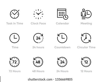 Task in Time Editable Line Icons Set