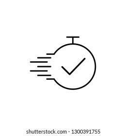 Task time line vector icon. Deadline, best time, completion. Fast time concept. Vector illustration for topics like business, management, competition. Isolated on white background